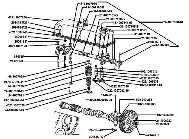 Вал распределительный. Клапаны и толкатели клапанов. ЗМЗ – 402,10; 4021,10; 4025,10; 4026,10; 4104,10