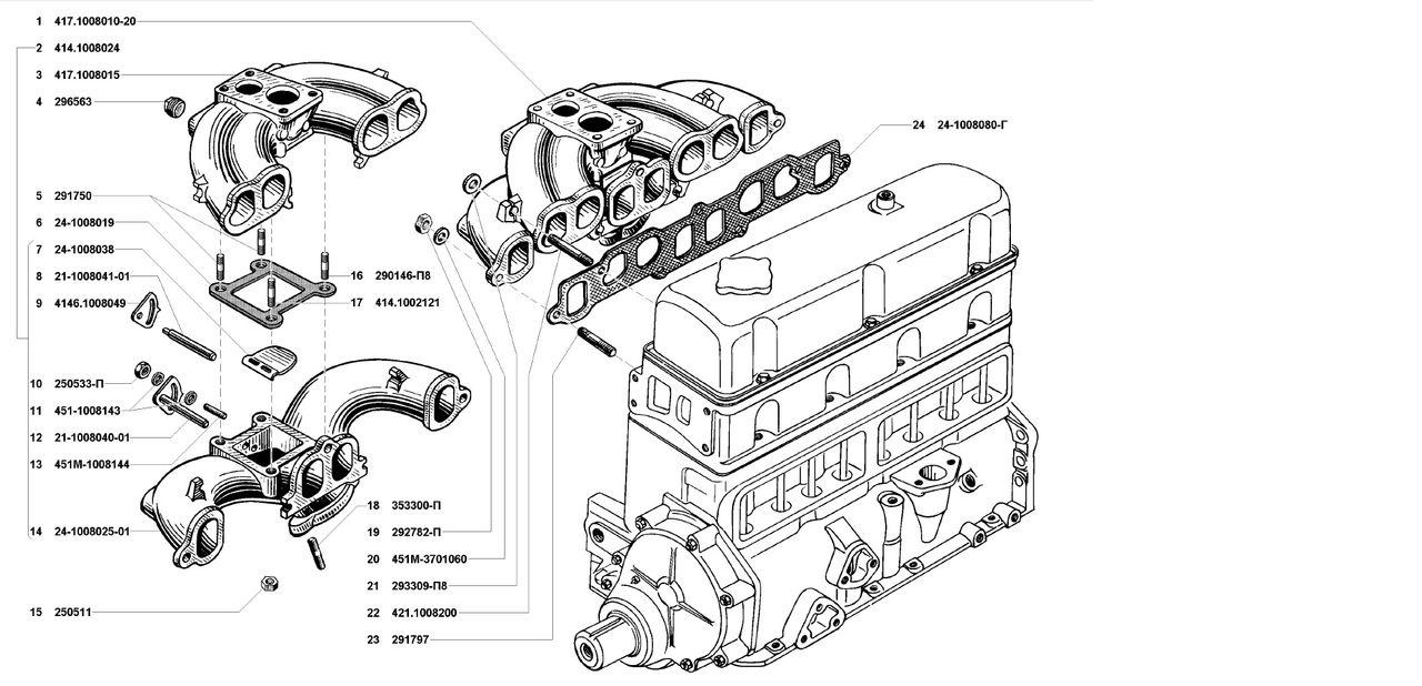 Газопроводы впускной и выпускной УМЗ 4178