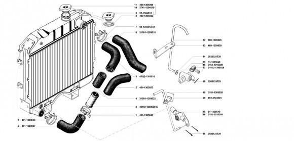 Патрубки и краник сливной УМЗ 4218