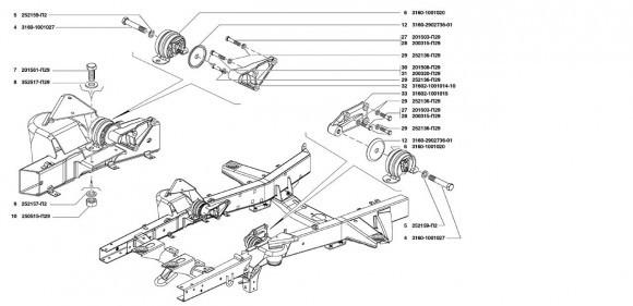 Передняя подвеска двигателя УМЗ