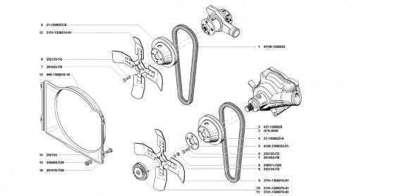 Привод водяного насоса и вентилятора УМЗ-421, УМЗ-4218