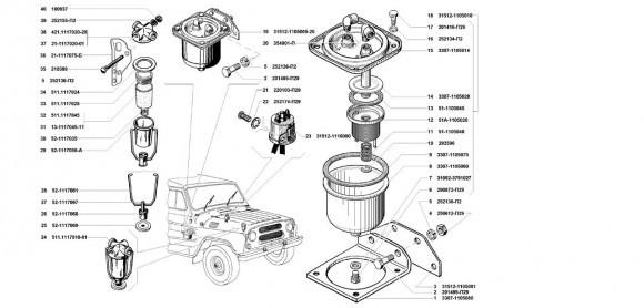 Фильтр грубой очистки топлива, клапан топливный электромагнитный, фильтр тонкой очистки топлива