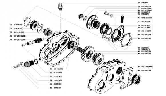 Картер и шестерни привода раздатки УАЗ