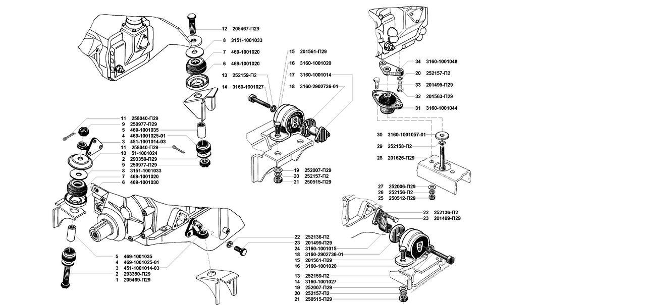 Подвеска двигателя УМЗ 4178