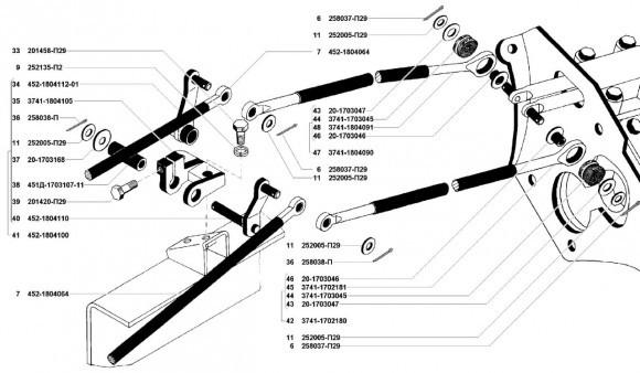 Привод управления механизмом УАЗ 3741, 3962, 2206, 3303