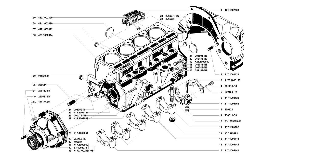 Блок цилиндров двигателя УМЗ 4178